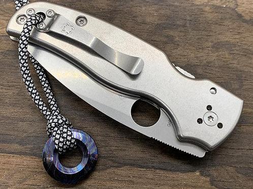 Stonewashed Custom Titanium Scales for Spyderco SHAMAN Knife