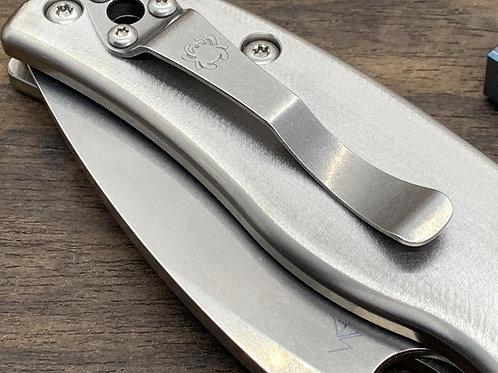 Proprietary Deep Brushed Custom Titanium Scales for Spyderco SHAMAN Knife