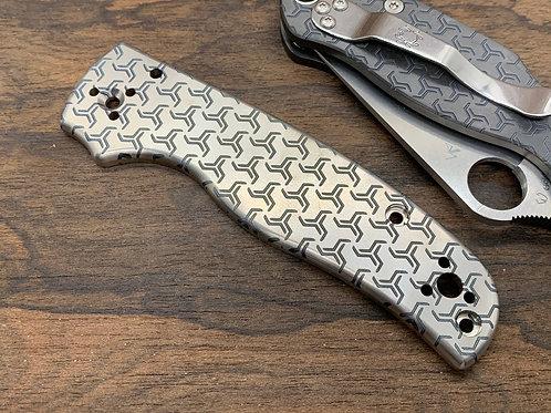 TURBO deep engraved Custom Titanium Scales for Spyderco SHAMAN Knife