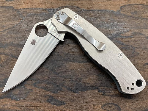Proprietary Deep Brushed Titanium Scales for Spyderco Paramilitary 2 Knife PM2