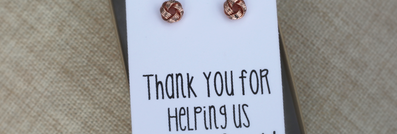 'Thank you for helping us tie the knot' Knot Earrings
