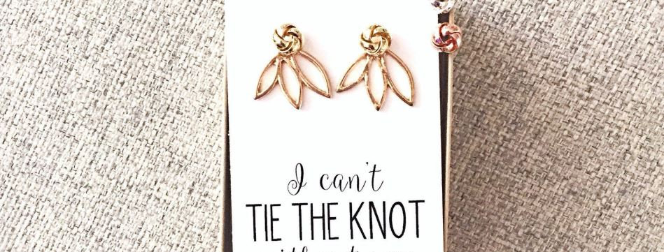 Lotus 'I can't tie the knot without you?' Rose Gold/Silver/Gold Knot Ea