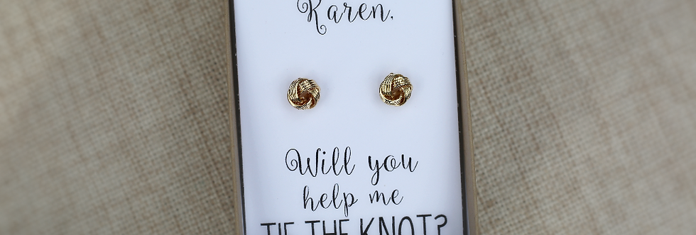Custom 'Will you help me tie the knot?' Rose Gold/Silver/Gold Knot Earrings