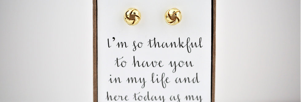 Thank  you for being my bridesmaid earring set--gold, rose gold, silver