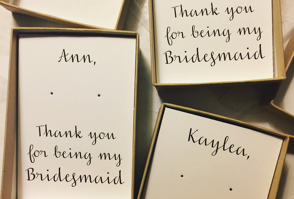 Personalized 'Thank You' earring card