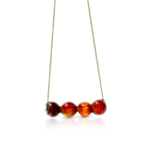 Red -Yellow Glass Necklace