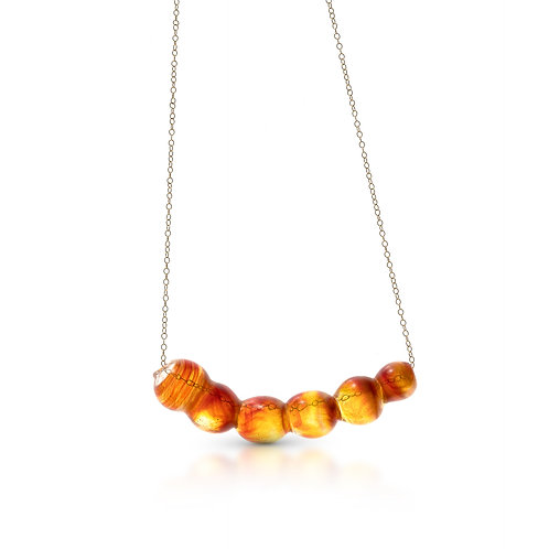 Red- Yellow Glass Necklace