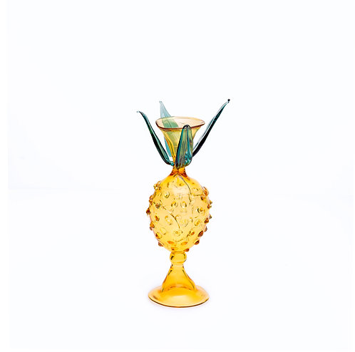 Pineapple Yellow and Green Glass Candlestick