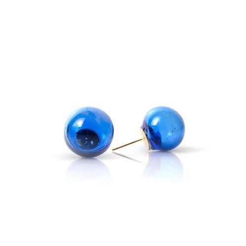 Blue- Clear Glass Earrings