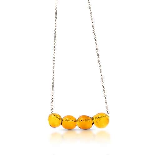 Amber-Yellow Glass Necklace