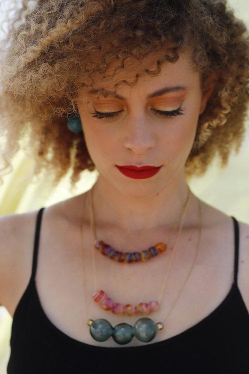 Red- Orange Glass necklaces