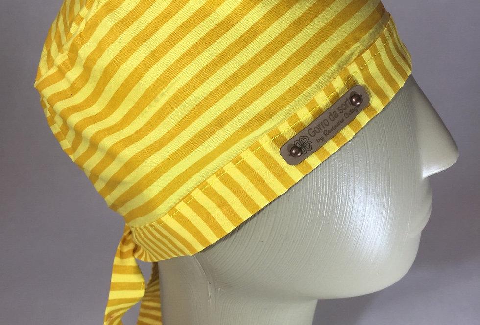 Gorro simples unissex, listrado amarelo e laranja