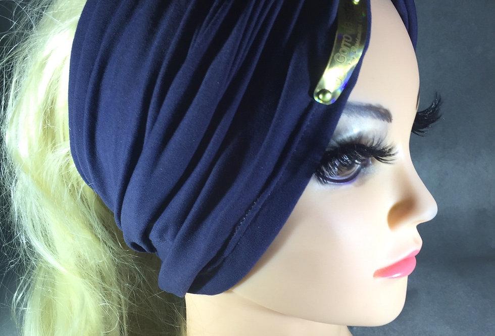 Faixa que vira turbante azul marinho