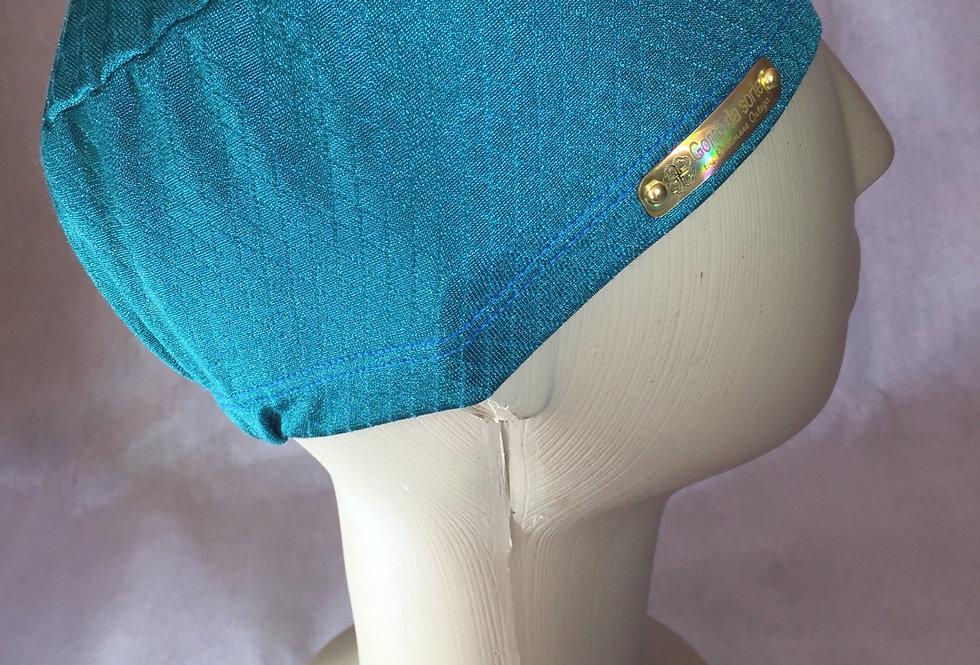 Gorro prático de elástico. Verde textura