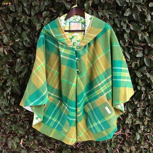 Hooded Wool Cape- Green