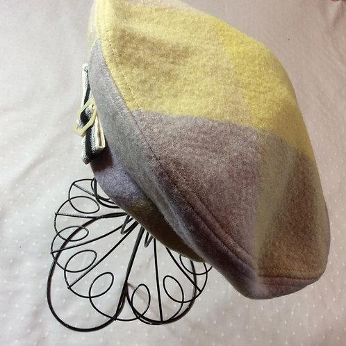 Lemon-Grey Wool Beret