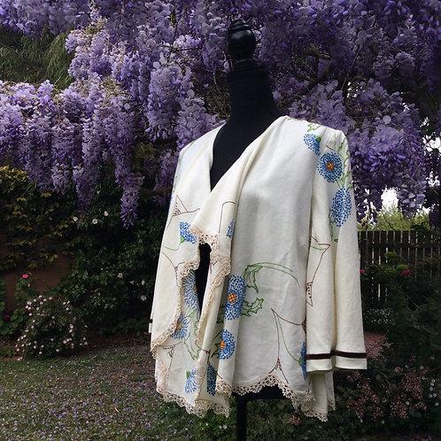 Linen Waterfall Jacket Cornflowers