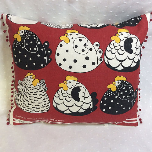 Happy Hens Linen Cushion