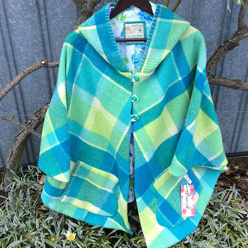 Hooded Wool Cape- Turquoise