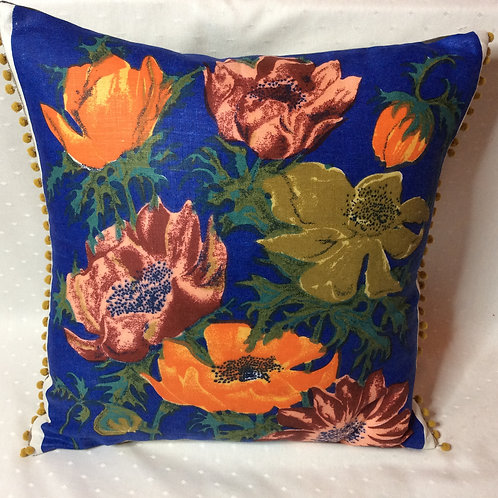 Retro Anenome Linen Cushion