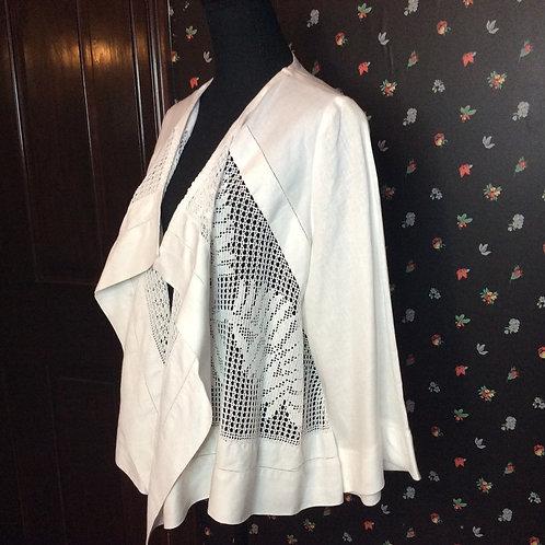 Linen Waterfall Jacket White 2