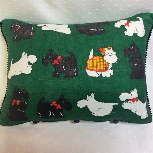 Scotty Dog Linen Cushion