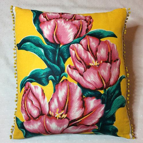 Tulip Linen Cushion-Yellow