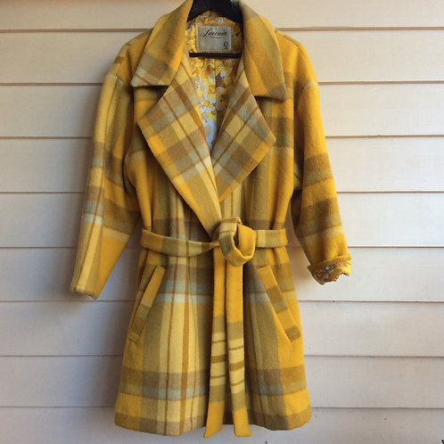 Checked Wool Wrap Coat/Jacket