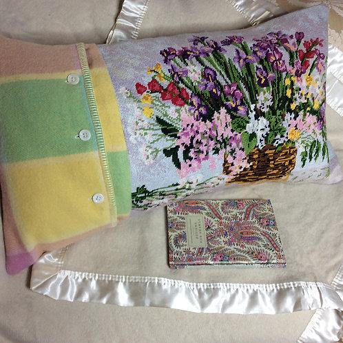 Iris Tapestry Wool Cushion