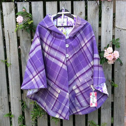 Hooded Wool Cape- Purple