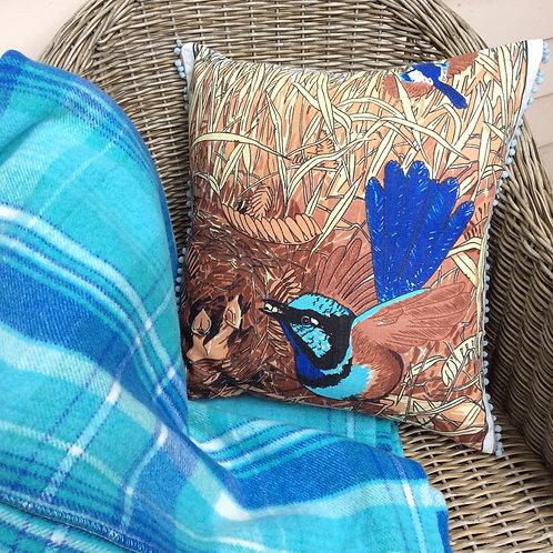 Blue Wren Linen Cushion