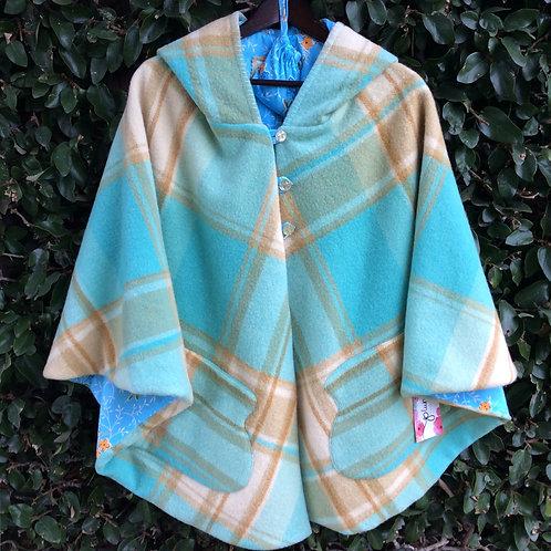 Hooded Wool Cape- Aqua