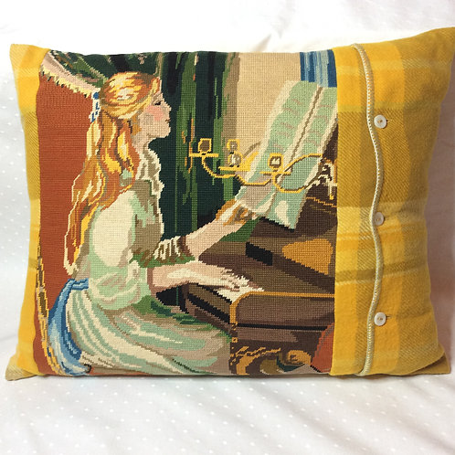 Piano Girl Tapestry Wool Cushion