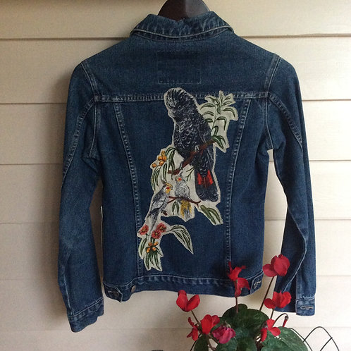 Denim Jacket Embellished Cockatoo