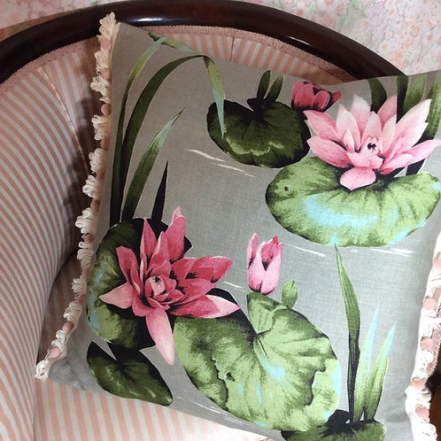 Water Lilies Linen Cushion