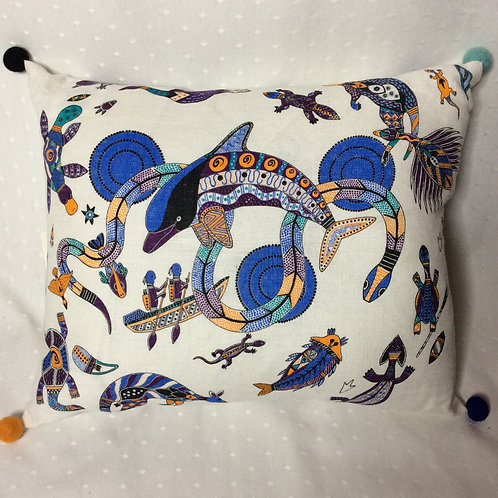 Dolphin Dreaming Linen Cushion