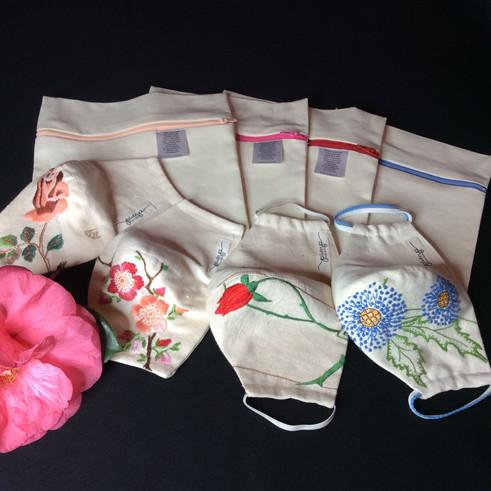 Embroidered Linen Facemasks