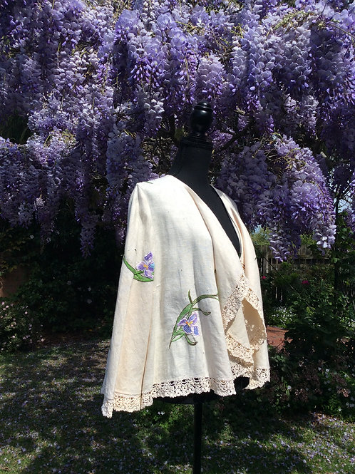 Linen Waterfall Jacket Iris