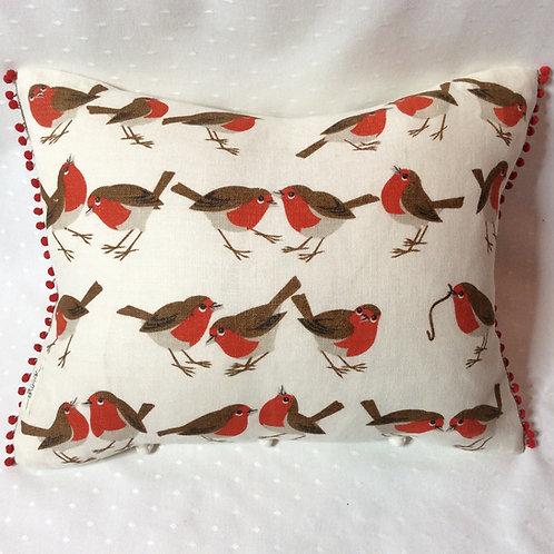 Red Robin Linen Cushion