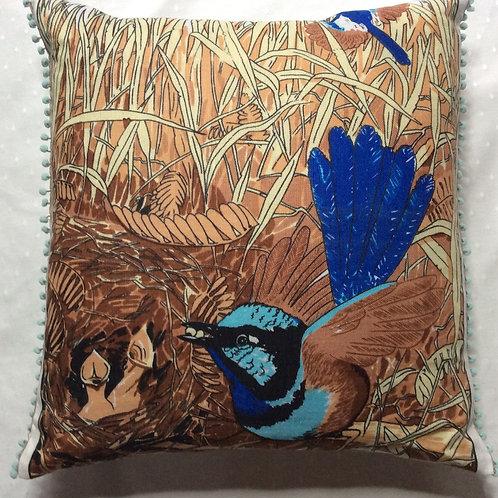 Blue Wren Sqaure Cushion