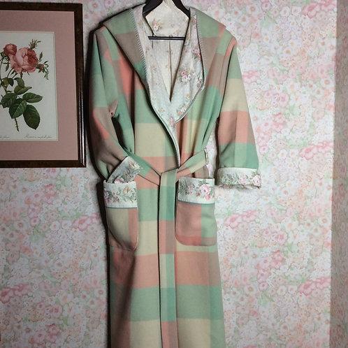 Ladies Hooded Wool Dressing Gown Mint