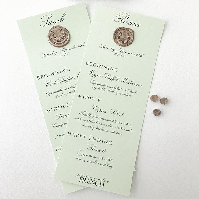 Personalized Menu Cards..
