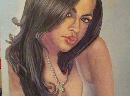 Vente aux enchères : Tableau d'Aaliyah en faveur des enfants de Kinshasa.