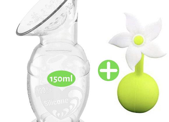 Recueil-Lait Silicone 150mL + Fleur - 100% Naturel - Haakaa