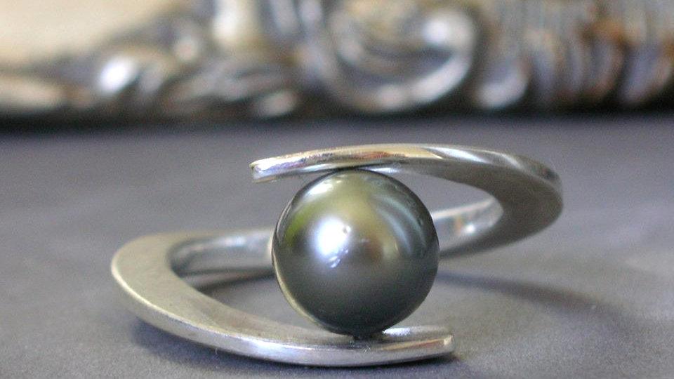 "Ring ""Galaxia"" Silber mit Tahitiperle"