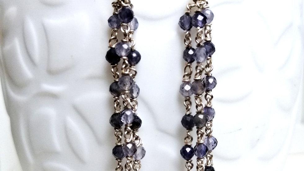 Ohrringe Silber mit Iolith und Perlen