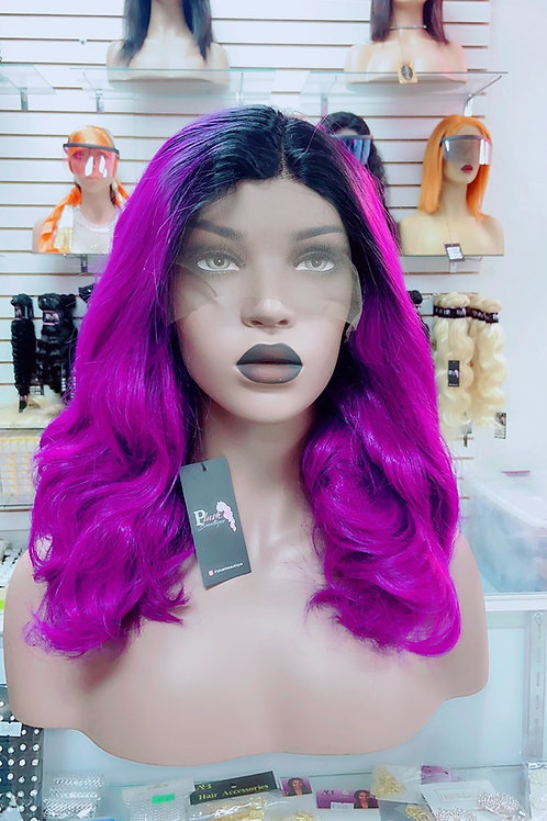 "Purp~ Front Lace Wig 16"" Medium Front Lace Wigs Pre-Tinted Custom Lace Front Wig"