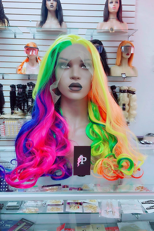 """SKITTLES ~ Front Lace Wig 32"""" Long Front Lace Wigs Pre-Tinted Custom Lace Front"""