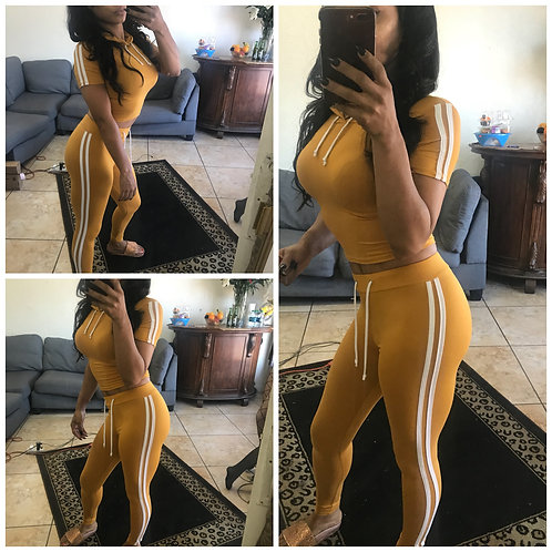 Two Piece Tracksuit Sweatsuit- Mustard