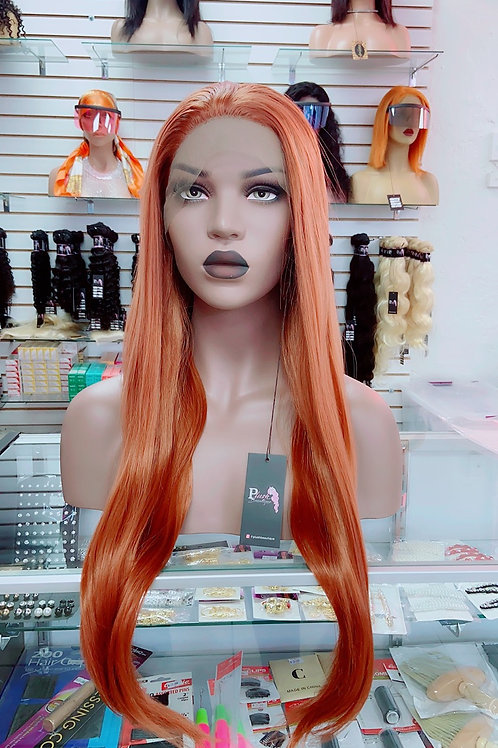 "KYM~ Front Lace Wig 32"" Long Front Lace Wigs Pre-Tinted Custom Lace Front Wig He"